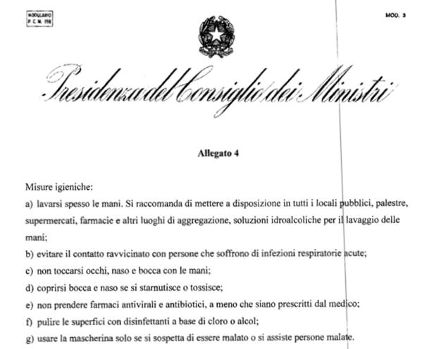 immagine Allegato n. 4 del DPCM 1 marzo 2020 misure igieniche