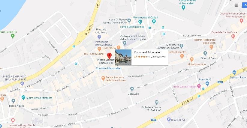 Cartina Comune di Moncalieri
