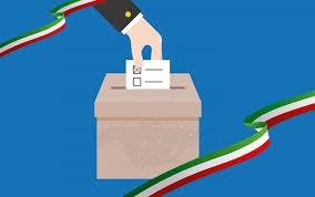 disegno di mano che mette la scheda nell'urna elettorale