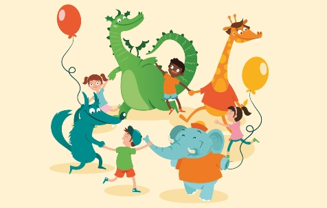 disegno girotondo con bambini e animaletti