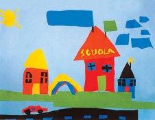 disegno di bambini con scuola e case